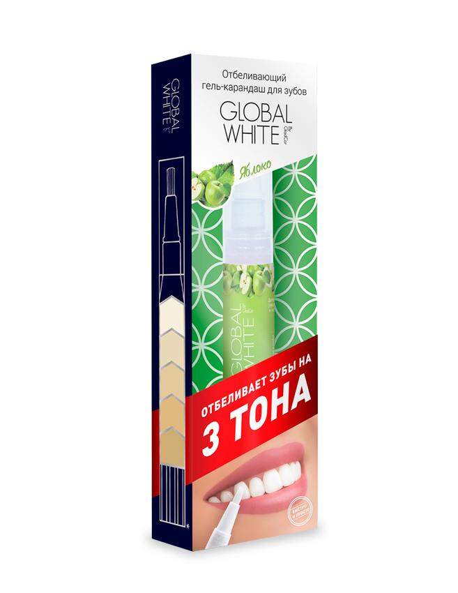 Global White Отбеливающий гель-карандаш для зубов Яблоко, 5 мл115Отбеливает на 3 тона, клинически доказанный результат, эффект после первого применения. Со вкусом яблока.