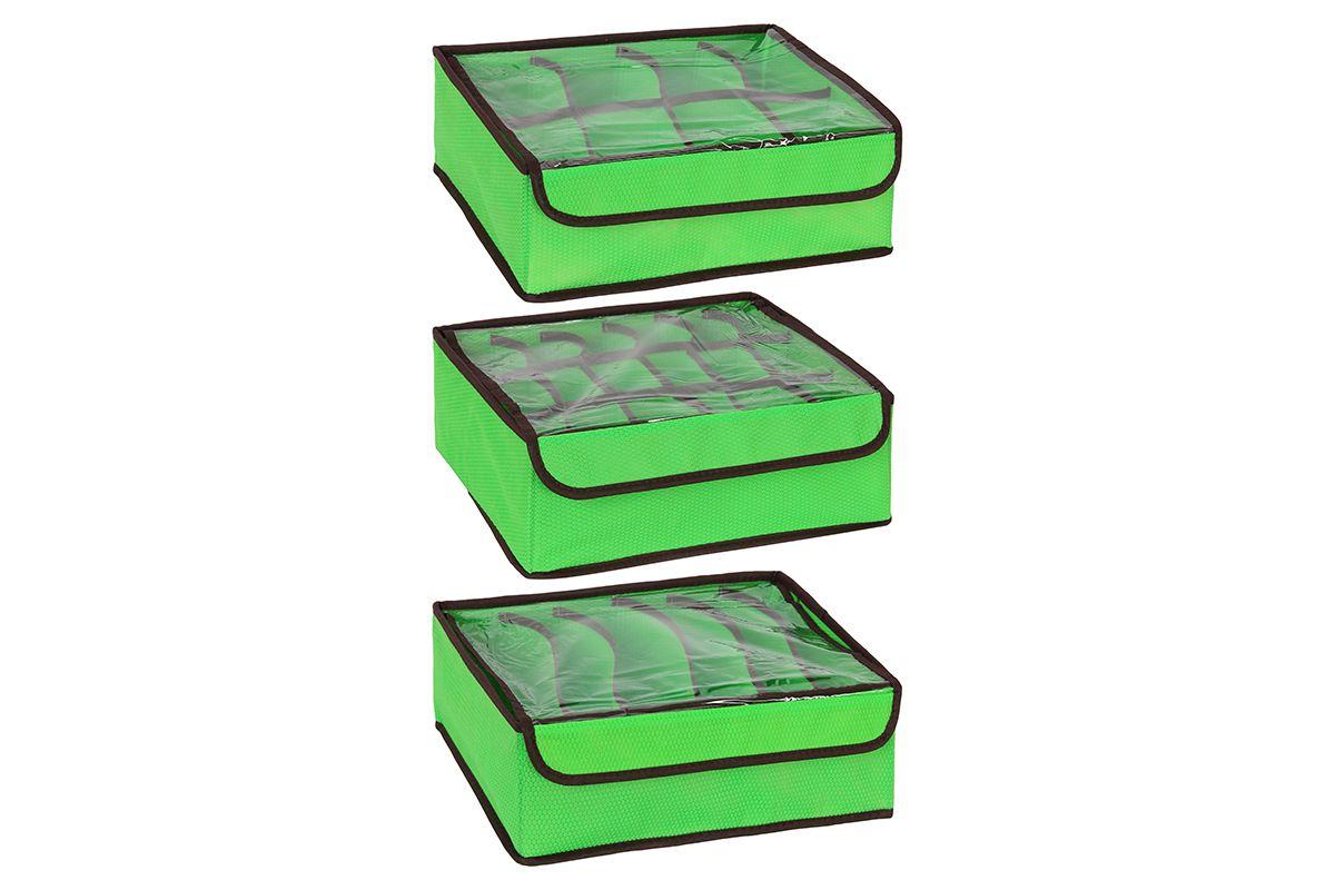 Набор кофров для хранения El Casa Соты, цвет: салатовый, 3 шт370113Набор El Casa Соты, изготовленный из высококачественного нетканого материала, состоит из 3 кофров для хранения, оснащенных 18, 8 и 6 секциями. Материал изделий позволяет сохранять естественную вентиляцию, а воздуху свободно проникать внутрь, не пропуская пыль. Прозрачная крышка на липучке, выполненная из ПВХ, позволяет видеть содержимое. Благодаря специальным вставкам, кофр прекрасно держит форму, а эстетичный дизайн гармонично смотрится в любом интерьере. Мобильность конструкции обеспечивает складывание и раскладывание одним движением. В таком кофре можно хранить всевозможные предметы. Комплектация: 3 шт. Количество секций: 18; 8; 6. Размер кофра: 32,5 х 24 х 11,5 см.