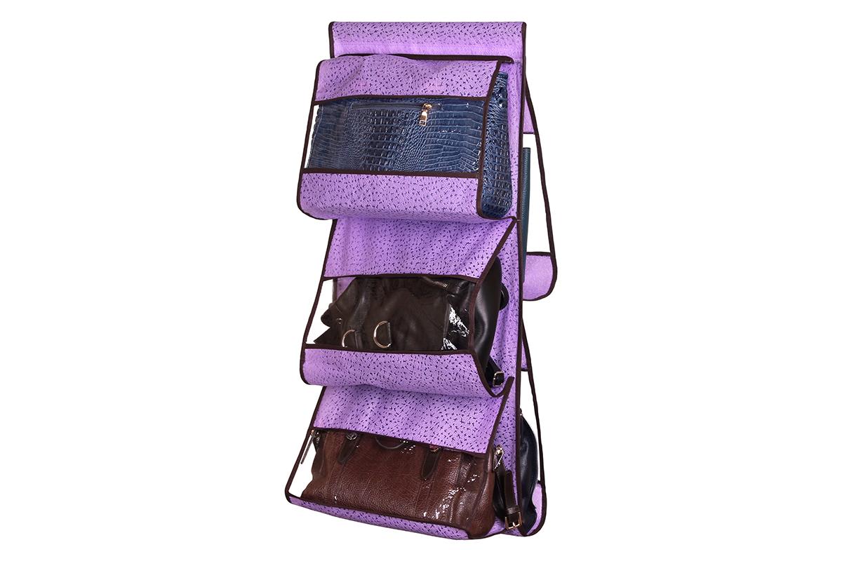 Кофр подвесной для сумок El Casa Звезды, цвет: фиолетовый, 5 секций, 39 х 90 см370199Подвесной кофр El Casa Звезды изготовлен из высококачественного нетканого волокна, которое позволяет воздуху проникать внутрь, при этом надежно защищая вещи от грязи, пыли, солнечных лучей и насекомых. В шкафу всегда будет порядок, так как такой кофр не только очень компактен, но и, несмотря на свои размеры, вмещает множество вещей. Пять прозрачных секций, расположенных с двух сторон, позволят вам удобно разместить свои сумочки, полотенца, зонтики и многое другое в легкодоступном месте. Изделие снабжено широкой петлей на липучках, с помощью которой крепится к перекладине.
