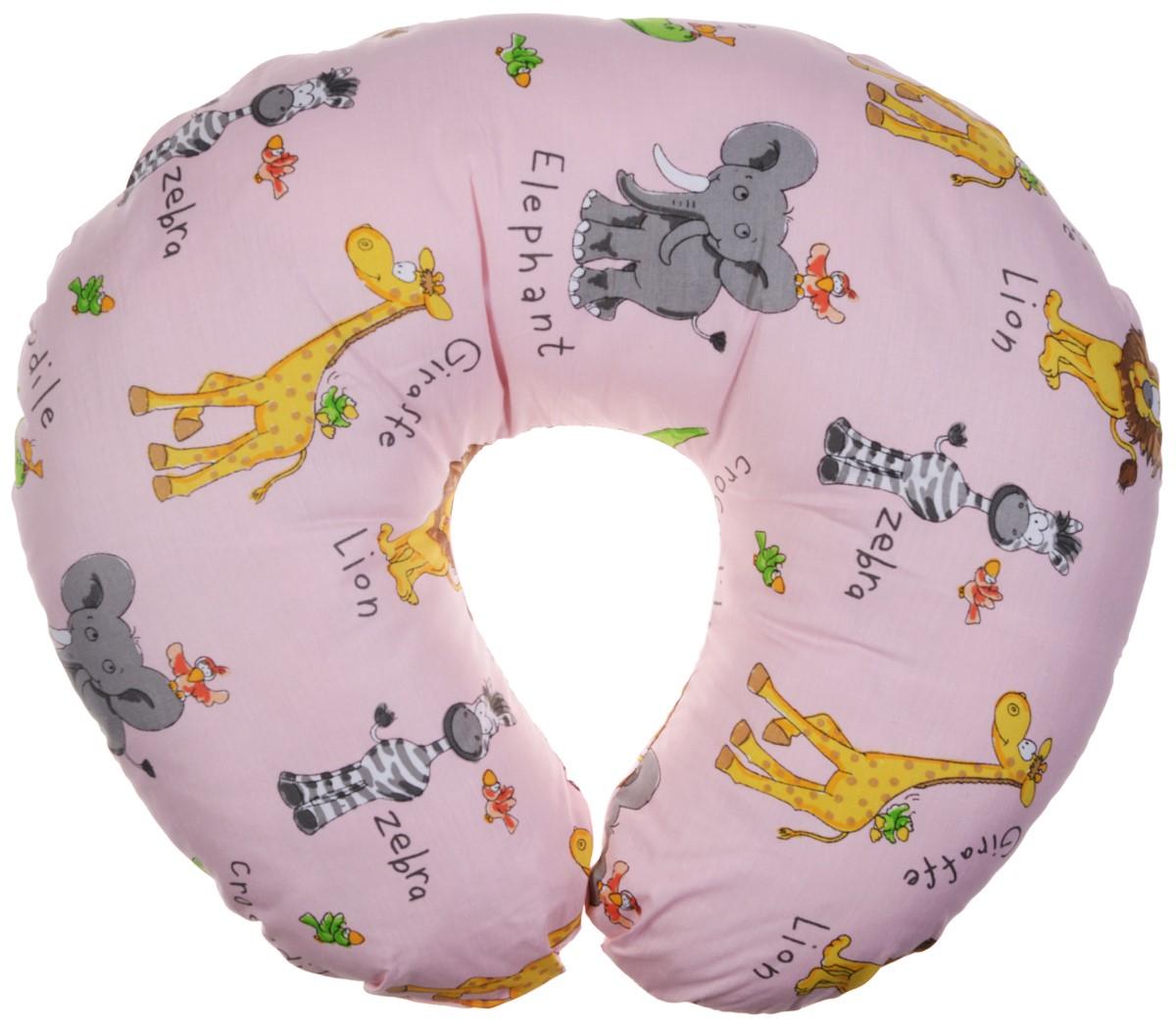 Спортбэби Подушка для кормления цвет светло-розовый 50 см х 45 смсп.0001_св. розовый/жираф,слонЯркая подушка Спортбэби сделает процесс кормления максимально комфортным и для мамы и для малыша. Удобная форма подушки в виде подковы позволяет расположить ее вокруг талии, тем самым ослабить нагрузку на спину и руки. Подушка выполнена из экологически чистого и безопасного материала. Наволочка изготовлена из 100% хлопка, в качестве наполнителя использовано полиэфирное волокно Уникрол. На такую подушку удобно класть ребенка во время кормления из бутылочки и с ложечки, а также при переодевании и просто для отдыха - ему будет уютно, как в гнездышке, и он никуда не скатится. Когда ребенок подрастет, он с удовольствием будет сидеть и играть на этой подушке, как в кресле. Наволочка на молнии, благодаря чему ее можно снимать и стирать.