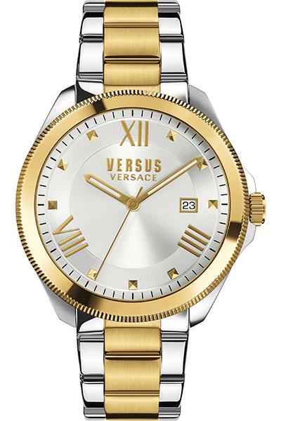 Наручные часы жен. Versus Versace, цвет: серый металлик, золотистый. SBE06 0016SBE06 00154 стрелки, механизм кварцевый Citizen_2025, сталь, диаметр циферблата 38 мм, браслет, застежка из стали, стекло минеральное, водонепроницаемость - 3 АТМ