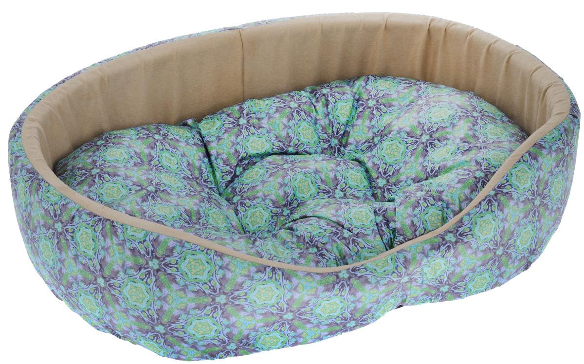 Лежак для собак Happy Puppy Калейдоскоп, цвет: бежевый, зеленый, желтый, 59 x 50 x 17 смHP-150061-4_бежевый, зеленый, желтыйМягкий лежак для собак Happy Puppy Калейдоскоп обязательно понравится вашему питомцу. Он выполнен из высококачественного хлопка и полиэстера, а наполнитель из мягкого холлофайбера и поролона. Такой материал не теряет своей формы долгое время. Лежак оснащен съемной подстилкой. Высокие бортики обеспечат вашему любимцу уют. За изделием легко ухаживать, его можно стирать вручную. Мягкий лежак станет излюбленным местом вашего питомца, подарит ему спокойный и комфортный сон, а также убережет вашу мебель от шерсти.