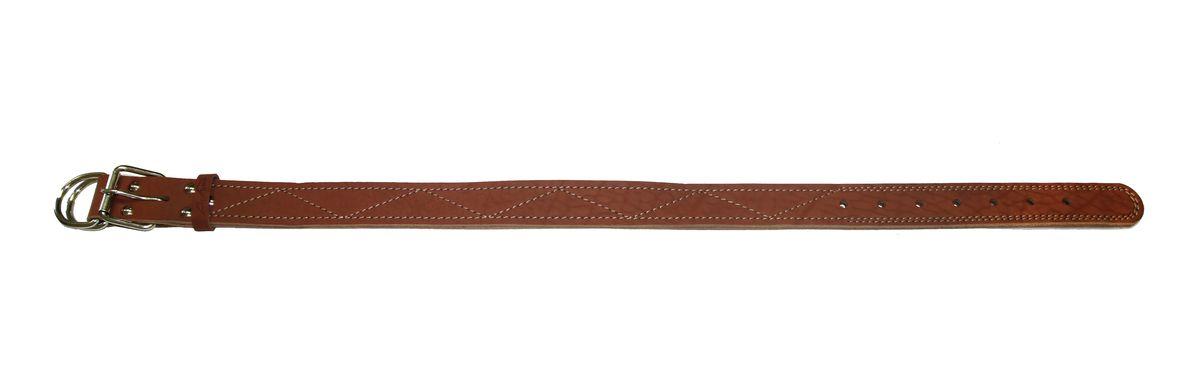 Ошейник Аркон Стандарт, цвет: коньячный, ширина 3,5 см, длина 86 смо35/3дкОшейник Аркон Стандарт изготовлен из кожи, устойчивой к влажности и перепадам температур. Клеевой слой, сверхпрочные нити, крепкие металлические элементы делают ошейник надежным и долговечным. Изделие отличается высоким качеством, удобством и универсальностью. Размер ошейника регулируется при помощи пряжки, зафиксированной на одном из 7 отверстий. Минимальный обхват шеи: 63 см. Максимальный обхват шеи: 80 см. Ширина: 3,5 см.