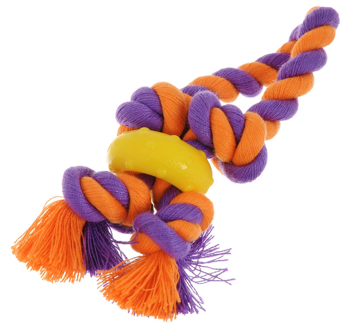 Игрушка для собак Petstages Mini. Канат, цвет: оранжевый, фиолетовый137REX_оранжевый, фиолетовыйИгрушка для собак Petstages Mini. Канат выполнена из текстиля и предназначена для мелких пород собак. Канат удаляет зубной налет, что способствует поддержанию здоровья полости рта. Резиновое кольцо массирует десны во время игры.