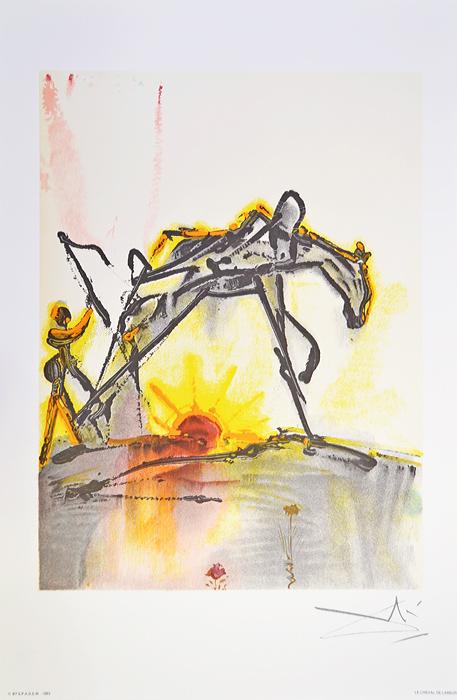 Литография Рабочая лошадь. Сальвадор Дали. Серия Далинианские лощади (Les Chevaux de Dali). Франция, 1983 годПКПМВСВеликолепная работа Сальвадора Дали из знаменитой серии Les Chevaux de Dali (Далинианские лошади)! ПРЕВОСХОДНАЯ ИДЕЯ ДЛЯ ПОДАРКА! Цветная литография Рабочая лошадь (Le Cheval de Labeur), 1983 год. Автор - Сальвадор Дали (1904-1989), испанский художник, один из самых известных представителей сюрреализма. Размер листа 36,5 х 56 см. Размер мотива 30 х 40 см. Сохранность коллекционная. Лист № 14 из серии Les Chevaux de Dali (Далинианские лошади). В правом нижнем углу подпись автора на доске, ниже название работы. В левом нижнем углу - тисненый штамп издателя - Georges Israel Editeur, год издания и знак S.P.A.D.E.M. (S.P.A.D.E.M. - Societe de la Propriete Artistique et des Dessins et Modules - это официальная организация, занимающаяся защитой авторских прав художников и их наследников. Знак S.P.A.D.E.M. является подтверждением законности тиражирования того или иного произведения искусства). Бумага Arches.