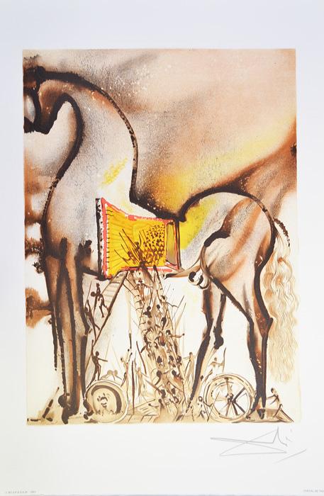 Литография Троянский конь. Сальвадор Дали. Серия Далинианские лощади (Les Chevaux de Dali). Франция, 1983 годАККААВеликолепная работа Сальвадора Дали из знаменитой серии Les Chevaux de Dali (Далинианские лошади)! ПРЕВОСХОДНАЯ ИДЕЯ ДЛЯ ПОДАРКА! Цветная литография Троянский конь (Le Cheval de Troie), 1983 год. Автор - Сальвадор Дали (1904-1989), испанский художник, один из самых известных представителей сюрреализма. Размер листа 36,5 х 56 см. Размер мотива 30 х 40 см. Сохранность коллекционная. Лист № 3 из серии Les Chevaux de Dali (Далинианские лошади). В правом нижнем углу подпись автора на доске, ниже название работы. В левом нижнем углу - тисненый штамп издателя - Georges Israel Editeur, год издания и знак S.P.A.D.E.M. (S.P.A.D.E.M. - Societe de la Propriete Artistique et des Dessins et Modules - это официальная организация, занимающаяся защитой авторских прав художников и их наследников. Знак S.P.A.D.E.M. является подтверждением законности тиражирования того или иного произведения искусства). Бумага Arches.