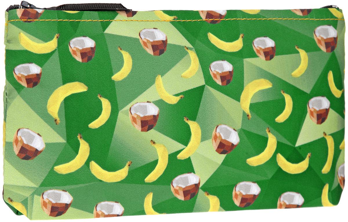 Косметичка ОРЗ-Дизайн Кокосы-бананы, цвет: зеленый, желтый, коричневый, белый. Орз-0339Орз-0339Косметичка ОРЗ-Дизайн Кокосы-бананы выполнена из текстиля и оформлена оригинальным авторским принтом. Изделие содержит одно основное отделение, которое закрывается на застежку-молнию. Женская косметичка - это стильный и полезный аксессуар для любой современной модницы. В косметичке поместится вся необходимая косметика, а благодаря компактным размерам ее всегда можно носить с собой в сумочке.