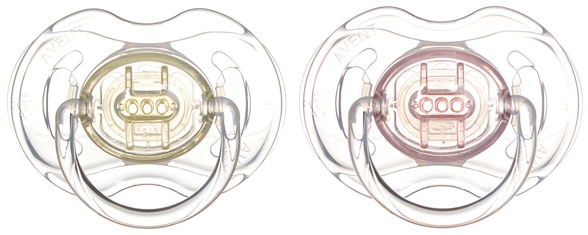 Philips Avent Пустышка силиконовая Классика от 0 до 6 месяцев цвет розовый желтый 2 шт SCF170/18SCF170/18Силиконовая пустышка Классика помогает удовлетворить естественную потребность в сосании, а также тренирует мышцы губ, языка и челюсти, что играет важную роль в развитии речи и способности пережевывать пищу. Плоские симметричные соски каплевидной формы учитывают естественное расположение неба, зубов и десен младенца, даже если соска переворачивается у него во рту. Защитный колпачок предназначен для гигиеничного хранения стерилизованных пустышек, а кольцевая ручка обеспечит более удобное вынимание пустышки. Силикон не обладает вкусом и запахом, что делает этот материал наиболее приемлемым для младенца.