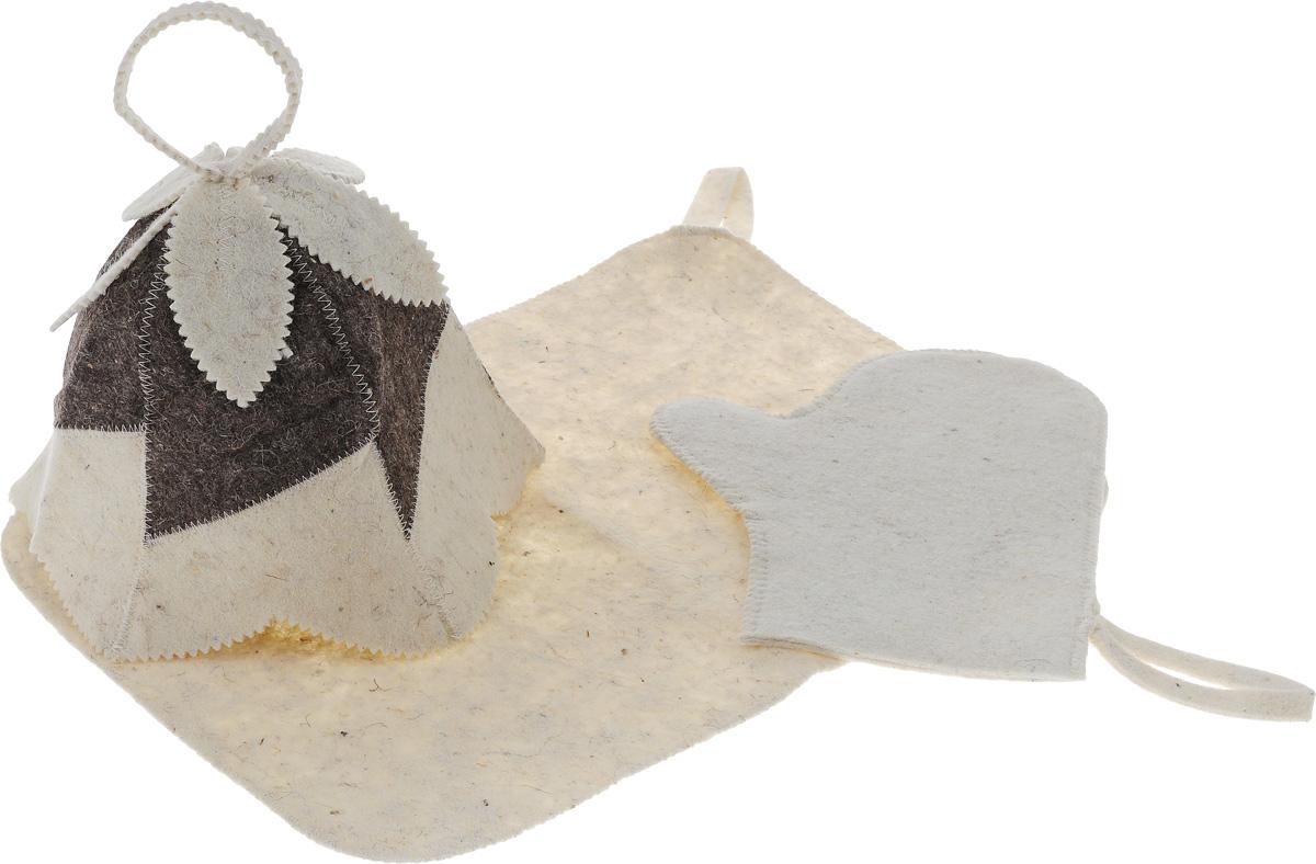 Набор для бани и сауны Proffi Колокольчик, женский, 3 предметаPS0166Оригинальный набор для бани Proffi Колокольчик включает в себя шапку, рукавицу и коврик. Изделия выполнены из войлока (шерсть с добавлением полиэфира). Шапка оформлена декоративными элементами. Шапка, рукавица и коврик - это незаменимые аксессуары для любителей попариться в русской бане и для тех, кто предпочитает сухой жар финской бани. Необычный дизайн изделий поможет сделать ваш отдых приятным и разнообразным. Шапка защитит волосы от сухости и ломкости, голову от перегрева и предотвратит появление головокружения. Рукавица обезопасит ваши руки от появления ожогов, а коврик от высоких температур при контакте с горячей лавкой в парилке. На изделиях имеются петельки, с помощью которых их можно повесить на крючок в предбаннике. Такой набор станет отличным подарком для любителей отдыха в бане или сауне. Размер коврика: 48 х 32 см. Обхват головы: 67 см. Высота шапки: 23 см. Размер рукавицы: 28 х 22 см.