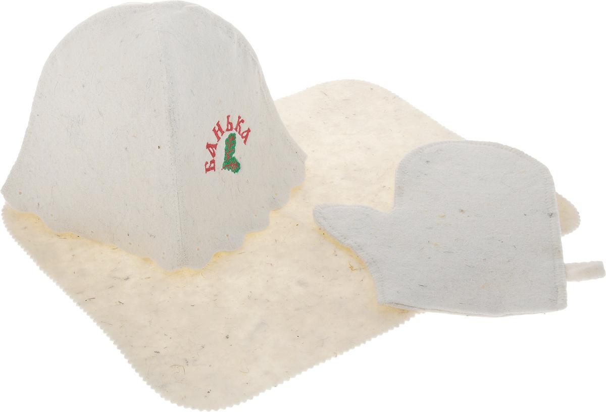 Набор для бани и сауны Proffi Банька, 3 предметаPS0078_банькаОригинальный набор для бани Proffi Банька включает в себя шапку, рукавицу и коврик. Изделия выполнены из войлока (шерсть с добавлением полиэфира). Шапка оформлена декоративной надписью Банька. Шапка, рукавица и коврик - это незаменимые аксессуары для любителей попариться в русской бане и для тех, кто предпочитает сухой жар финской бани. Необычный дизайн изделий поможет сделать ваш отдых приятным и разнообразным. Шапка защитит волосы от сухости и ломкости, голову от перегрева и предотвратит появление головокружения. Рукавица обезопасит ваши руки от появления ожогов, а коврик от высоких температур при контакте с горячей лавкой в парилке. На изделиях имеются петельки, с помощью которых их можно повесить на крючок в предбаннике. Такой набор станет отличным подарком для любителей отдыха в бане или сауне. Размер коврика: 44 х 35 см. Обхват головы: 71 см. Высота шапки: 24 см. Размер рукавицы: 26 х 22 см....