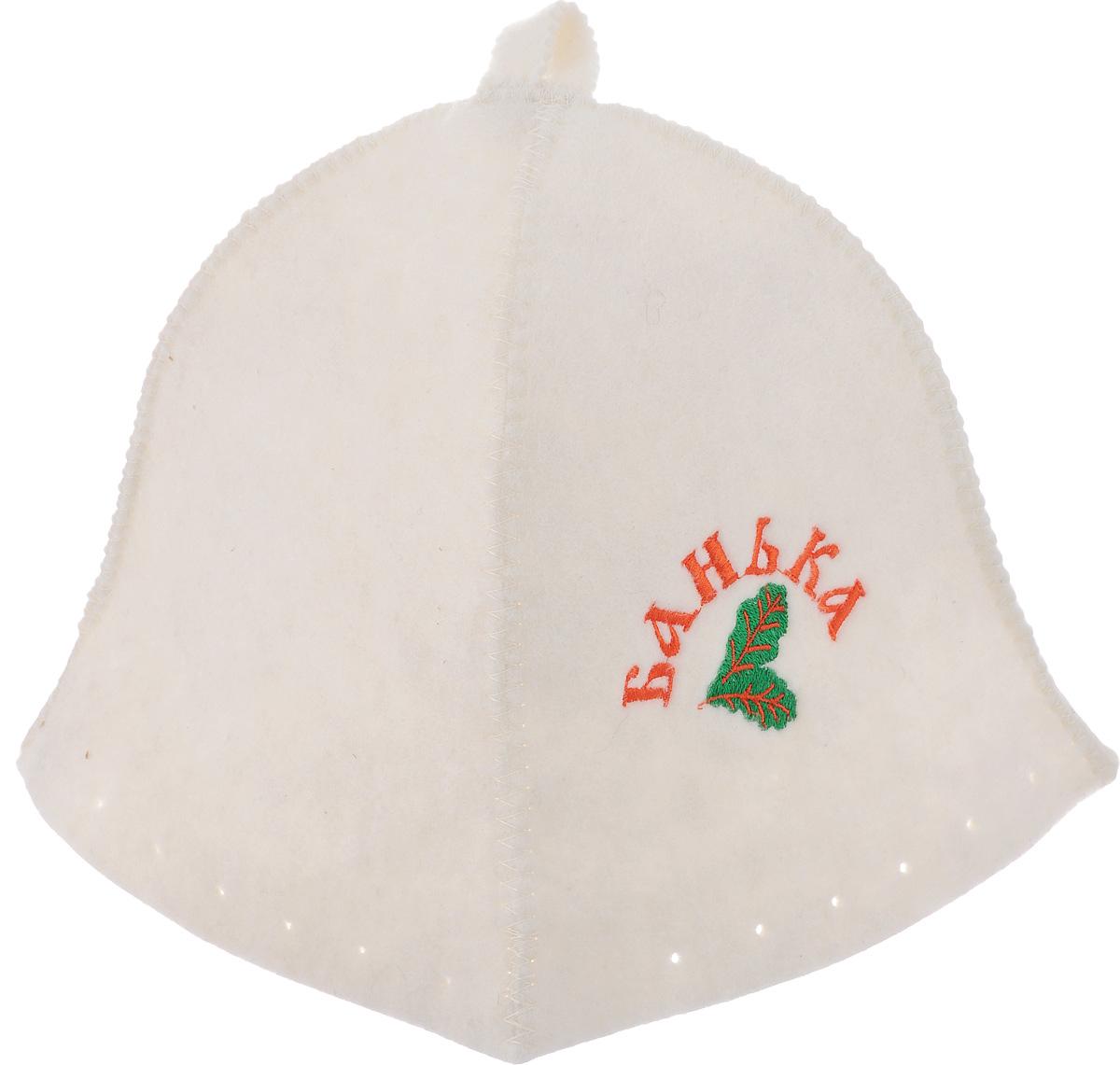 Шапка для бани и сауны Proffi Люкс. БанькаPS0043Банная шапка Proffi Люкс. Банька изготовлена из высококачественного войлока и декорирована изображением двух листьев и надписью Банька. Банная шапка - это незаменимый аксессуар для любителей попариться в русской бане и для тех, кто предпочитает сухой жар финской бани. Кроме того, шапка защитит волосы от сухости и ломкости, голову от перегрева и предотвратит появление головокружения. На шапке имеется петелька, с помощью которой ее можно повесить на крючок в предбаннике. Такая шапка станет отличным подарком для любителей отдыха в бане или сауне. Обхват головы: 74 см. Высота шапки: 24 см.