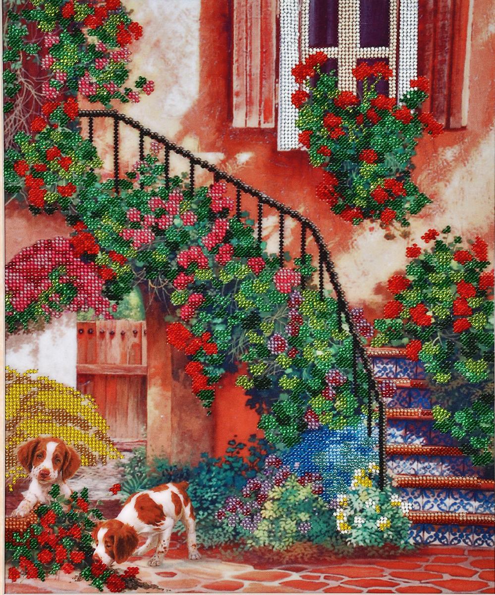 Набор для вышивания бисером Hobby & Pro Цветочный дворик, 30 x 36 см484254