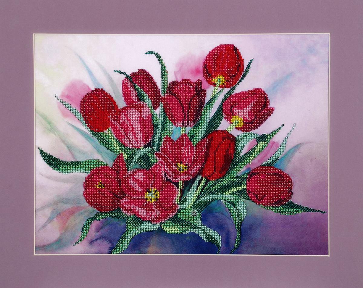 Набор для вышивания бисером Hobby & Pro Тюльпаны, 40 x 30 см486827