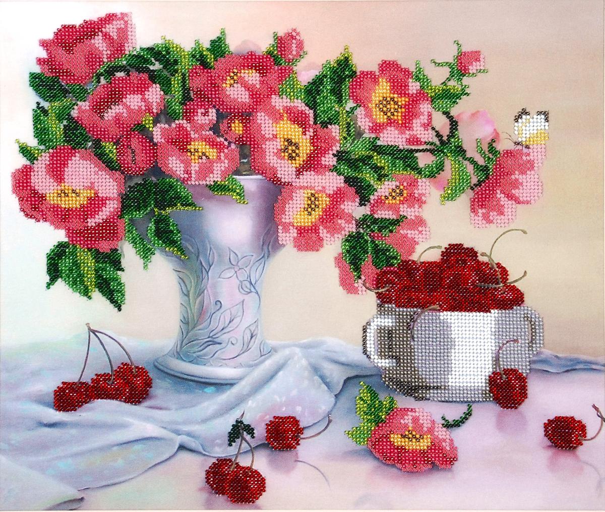 Набор для вышивания бисером Hobby & Pro Цветы с черешней, 36 x 30 см486979