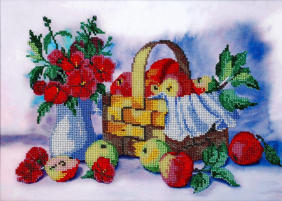 Набор для вышивания бисером Hobby & Pro Лукошко яблок, 35 x 25 см551324