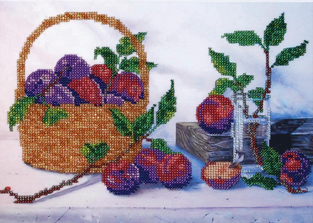Набор для вышивания бисером Hobby & Pro Корзина со сливами, 28 x 20 см581817