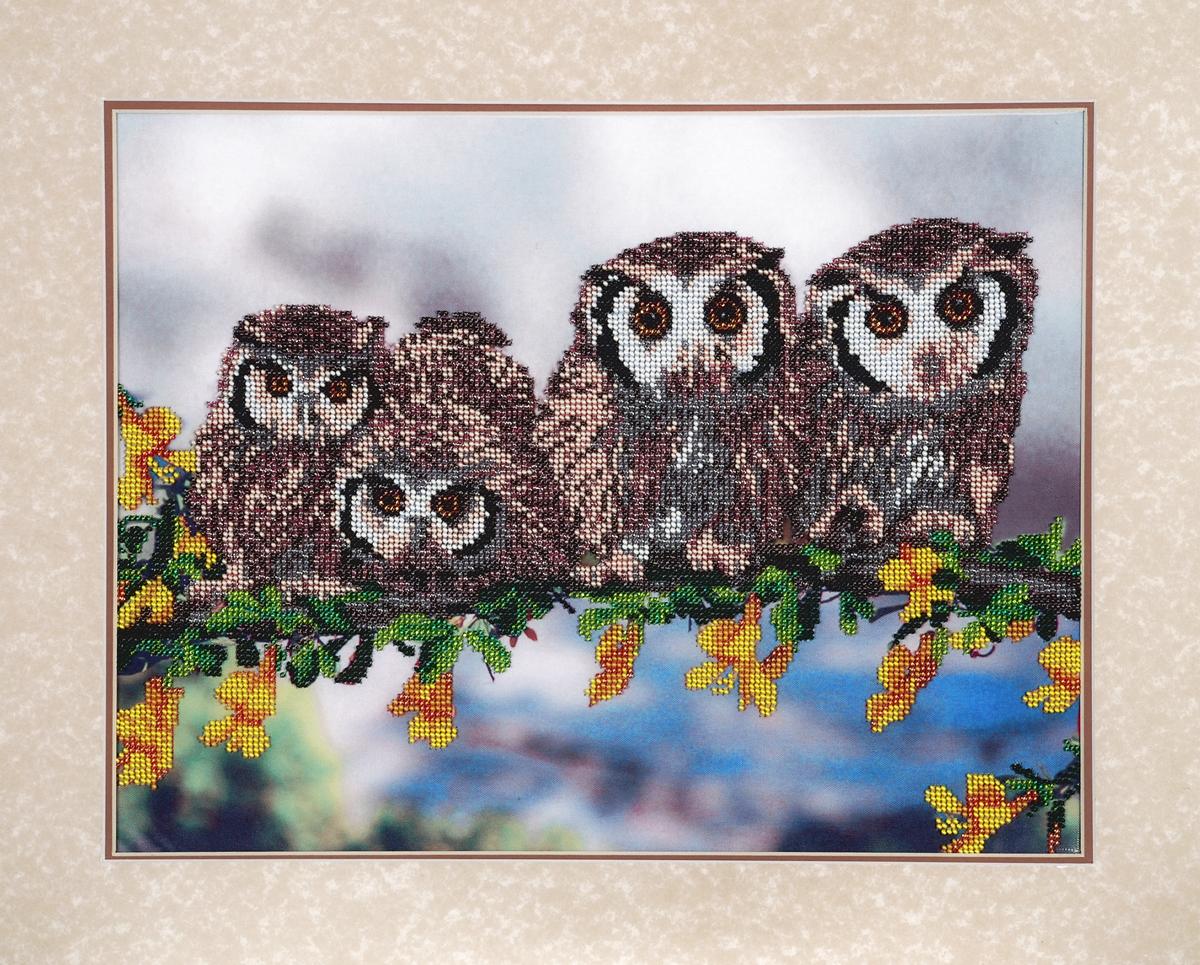 Набор для вышивания бисером Hobby & Pro Совята, 40 x 30 см581830