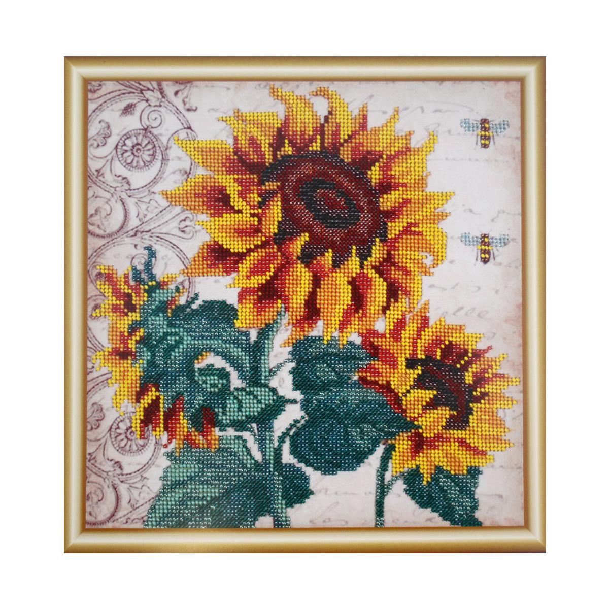 Набор для вышивания бисером Hobby & Pro Подсолнухи и пчелки,25 x 25 см582031