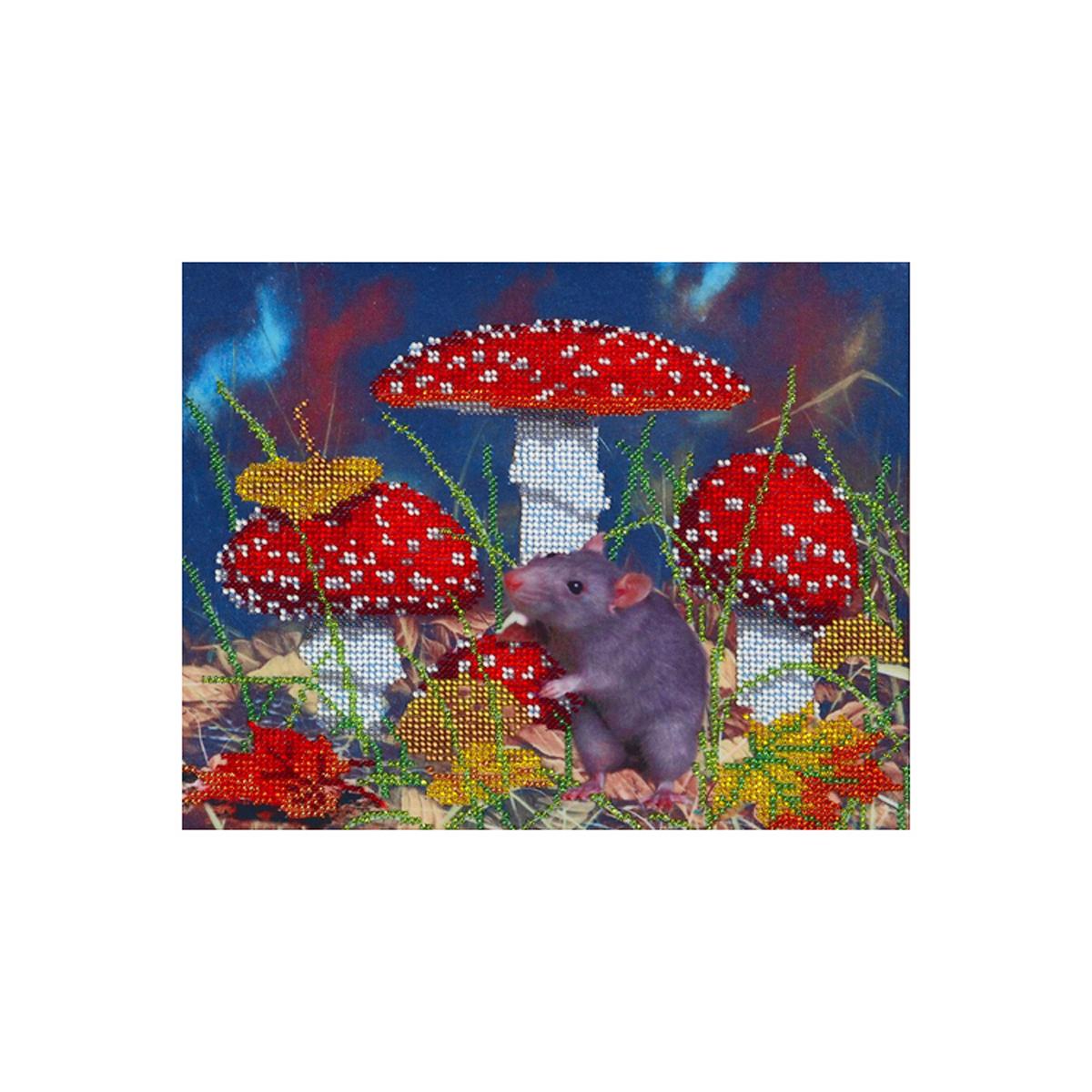Канва для вышивания бисером Hobby&Pro В мухоморах, 25 x 20 см486676