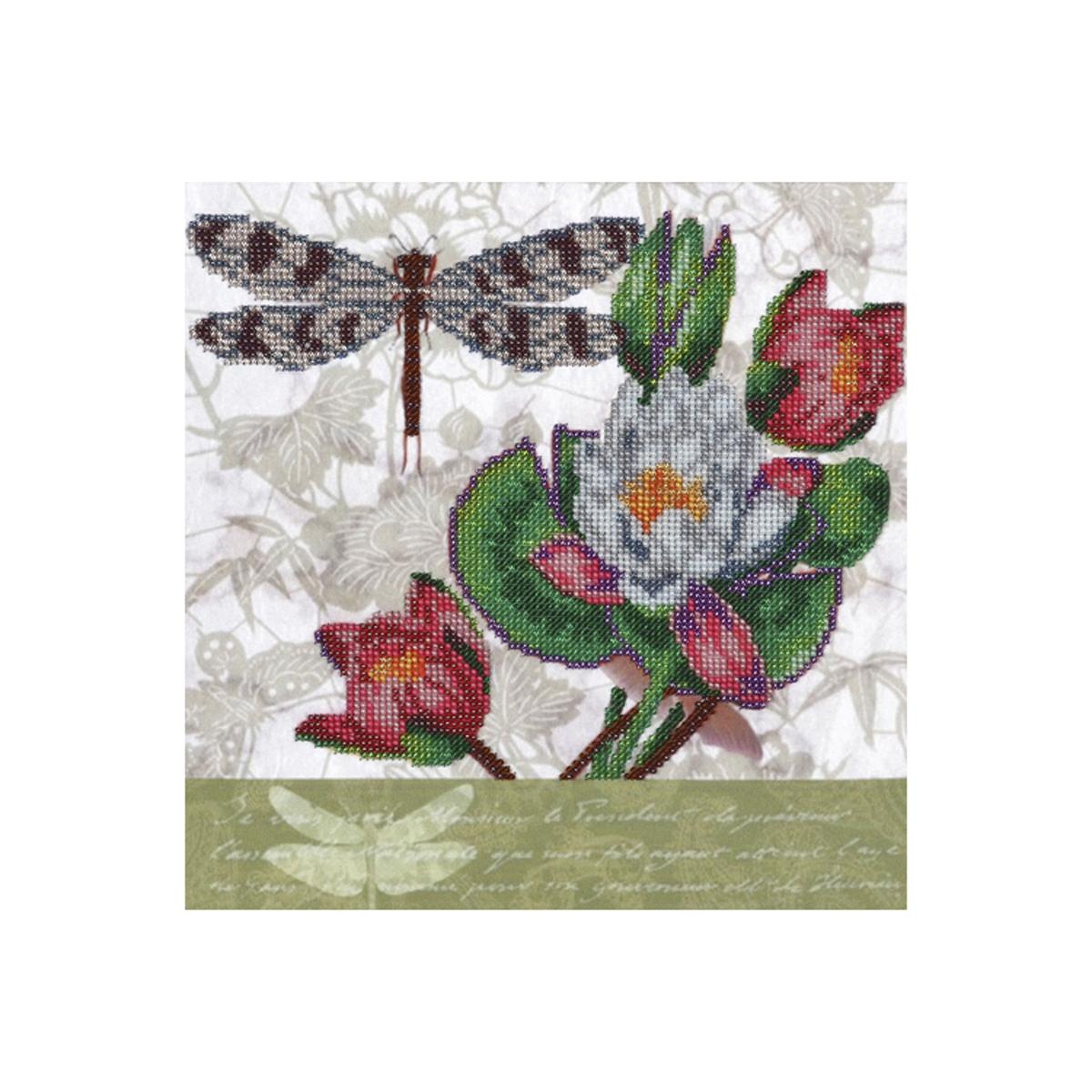 Канва для вышивания бисером Hobby&Pro Кувшинки и стрекоза, 42 x 48 см486991