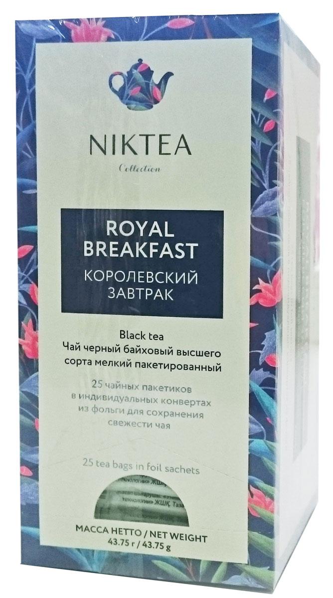 Niktea Royal Breakfast черный чай в пакетиках, 25 штTALTHA-BP0008_newNiktea Royal Breakfast - полнотелый, насыщенный купаж черных чаев из Индии и Цейлона. Превосходно бодрит, идеален с молоком ранним утром. NikTea следует правилу качество чая - это отражение качества жизни и гарантирует: Тщательно подобранные рецептуры в коллекции топовых позиций-бестселлеров. Контролируемое производство и сертификацию по международным стандартам. Закупку сырья у надежных поставщиков в главных чаеводческих районах, а также в основных центрах тимэйкерской традиции - Германии и Голландии. Постоянство качества по строго утвержденным стандартам. NikTea - это два вида фасовки - линейки листового и пакетированного чая в удобной технологичной и информативной упаковке. Чай обладает многофункциональным вкусоароматическим профилем и подходит для любого типа кухни, при этом постоянно осуществляет оптимизацию базовой коллекции в соответствии с новыми тенденциями чайного рынка. Фильтр-бумага для пакетированного...