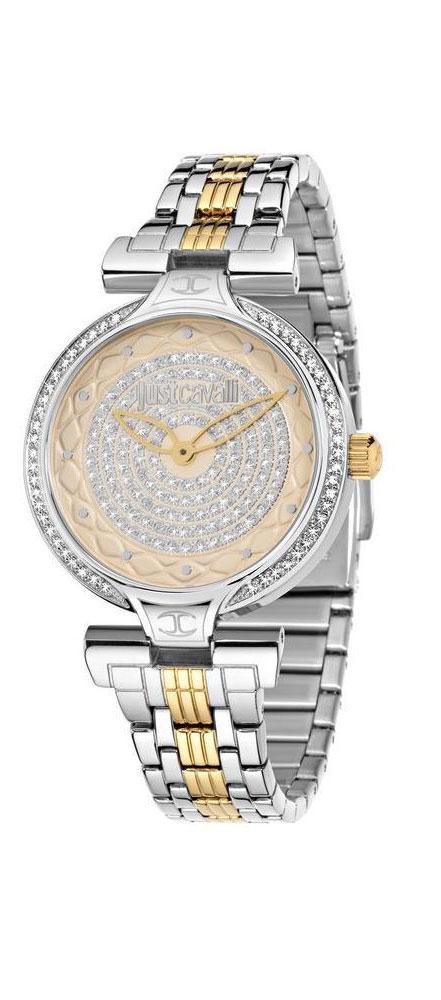Часы наручные женские Just Cavalli Lady J, цвет: серебристый, золото. R7253579503R7253579503стразы из стекла, ПВД покрытие золотом