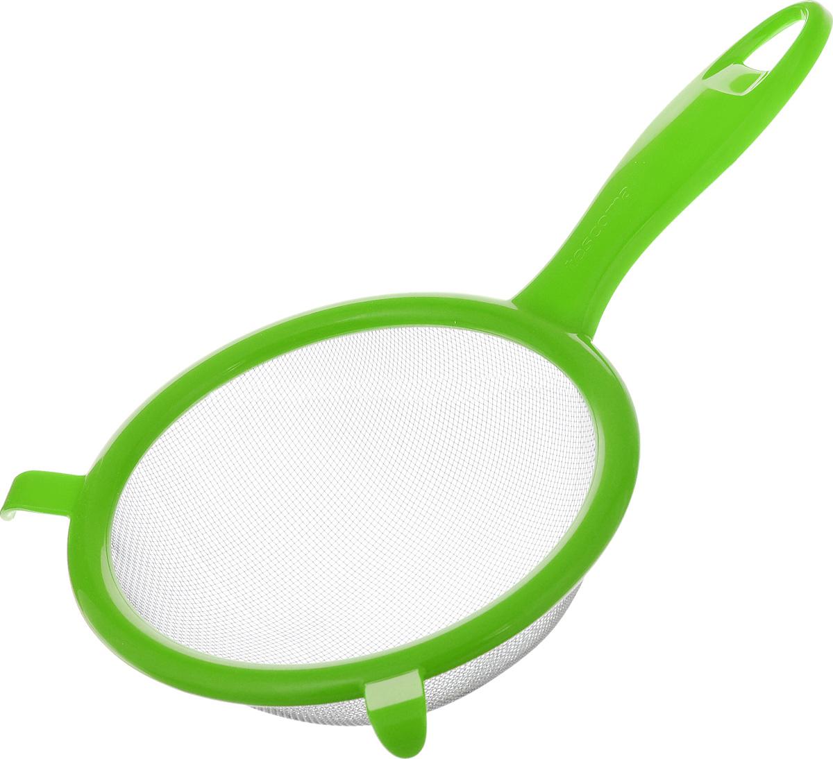 Сито Tescoma Presto, цвет: светло-зеленый, диаметр 14 см420604_светло-зеленыйСито Tescoma Presto изготовлено из высококачественной нержавеющей стали и прочного пластика. Изделие снабжено двумя выступами для установки на кастрюлю. Ручка снабжена отверстием для подвешивания на крючок. Сито предназначено для процеживания круп и макарон, просеивания муки, промывания ягод и фруктов. Такое сито станет незаменимым аксессуаром на вашей кухне. Можно мыть в посудомоечной машине. Диаметр сита: 14 см. Длина (с учетом ручки): 25 см.