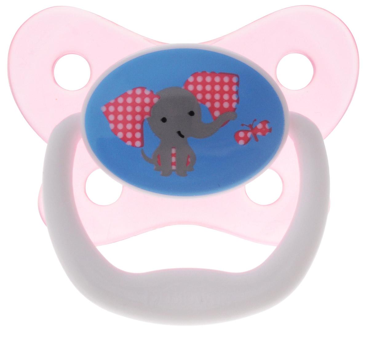 Dr.Brown's Пустышка PreVent Бабочка Слон от 6 до 12 месяцев цвет розовый
