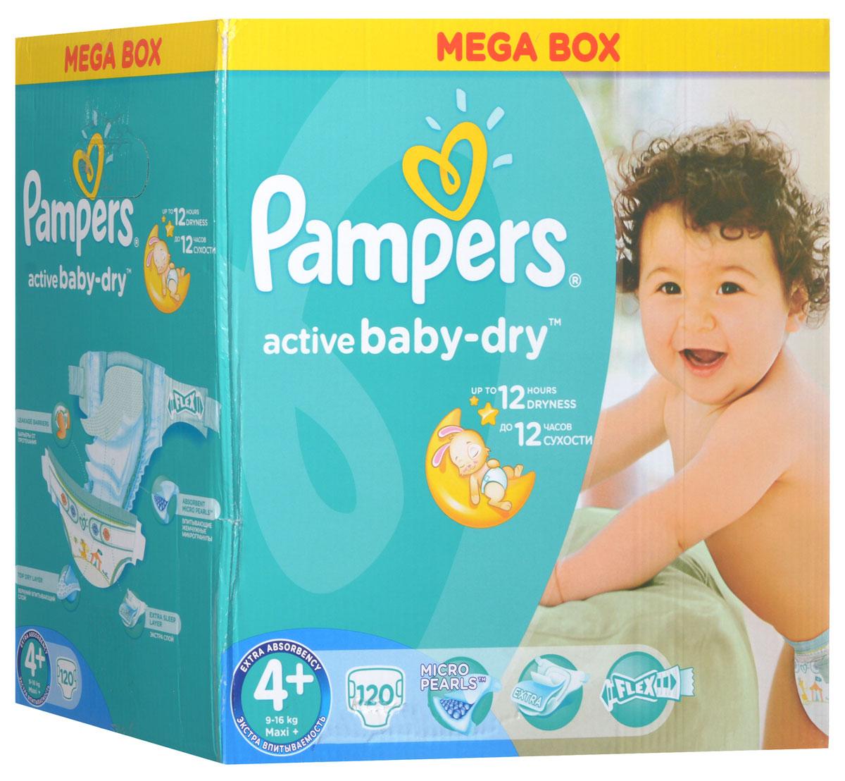 Pampers Подгузники Active Baby-dry 9-16 кг (размер 4+) 120 штPA-81446248До 12 часов сухости, чтобы каждое утро было добрым! Для каждого доброго утра нужно до 12 часов сухости ночью. Поэтому для вас и вашего малыша каждое утро будет добрым, ведь у подгузников Pampers Active Baby-Dry есть обновленный рельефный впитывающий слой и основа, которая надежно запирает влагу внутри. А также мягкие тянущиеся боковинки, чтобы подгузник сидел плотно и при этом не доставлял дискомфорт малышу. Просыпайтесь с радостью каждое утро с подгузниками Pampers Active Baby-Dry . - Каждое утро будет добрым после ночи спокойного сна! - Рельефный впитывающий слой, который впитывает влагу и запирает ее внутри. - У подгузников Pampers Active Baby-Dry новый веселый дизайн! - Мягкие тянущиеся боковинки, чтобы малышу было комфортно, а подгузник сидел плотно. - Доступны в размерах 2, 3, 3+, 4, 4+, 5, 5+, и 6
