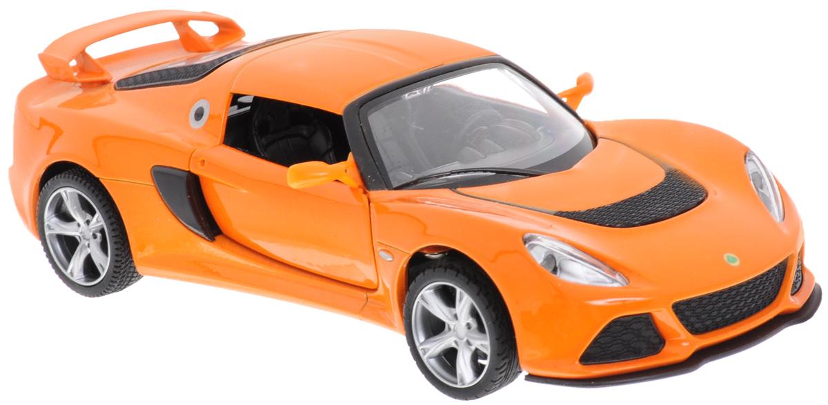MSZ Модель автомобиля Lotus Exige SCP-68305-ORМодель автомобиля MSZ Lotus Exige S - копия оригинальной машины в масштабе 1:32. Выполнена из высококачественного металла и пластика, она обязательно понравится не только ребенку, но и взрослому. Игрушечная модель оснащена металлическим корпусом и подвижными колесами. Двери машинки открываются, салон детализирован. Модель дополнена световыми и звуковыми эффектами. Игрушка оснащена инерционным ходом. Для того чтобы автомобиль поехал вперед, необходимо его отвести назад, а затем резко отпустить. Прорезиненные колеса обеспечивают надежное сцепление с любой поверхностью пола. Машинка является отличным подарком для юного гонщика. Во время игры с такой машинкой, у ребенка развивается мелкая моторика рук, фантазия и воображение. Рекомендуется докупить 3 батарейки типа AG13 (товар комплектуется демонстрационными).