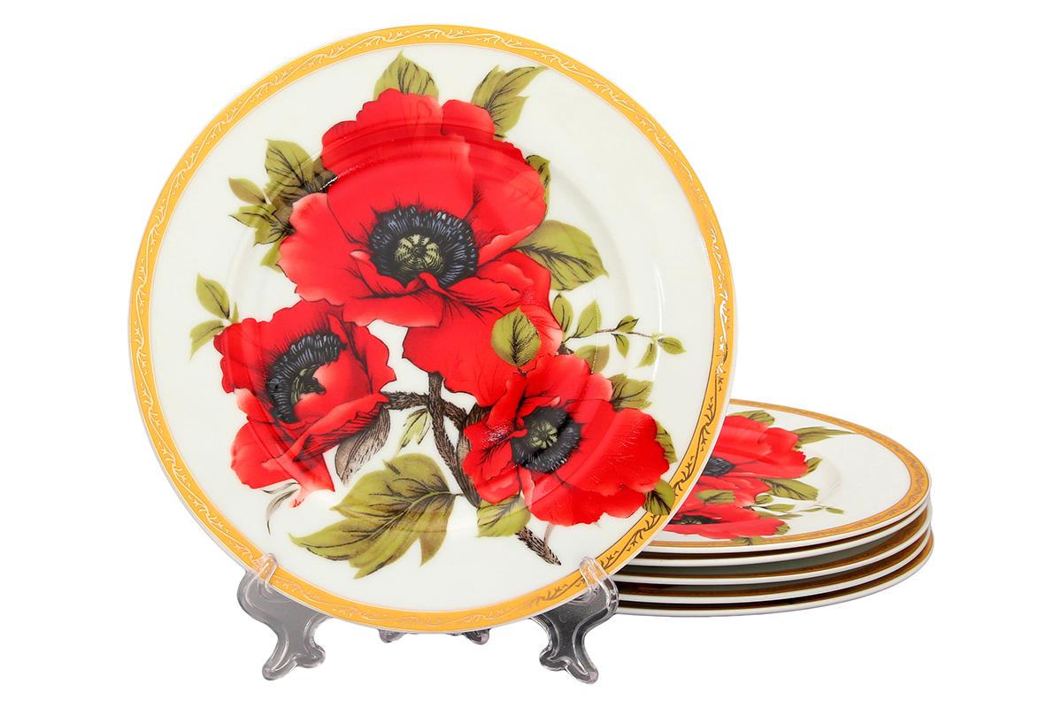 Набор тарелок Elan Gallery Маки, диаметр 19 см, 6 шт503634Набор Elan Gallery Маки, выполненный из высококачественной керамики, состоит из 6 тарелок и предназначен для красивой сервировки различных блюд. Изделия украшены изображением цветов. Набор сочетает в себе стильный дизайн с максимальной функциональностью. Оригинальность оформления придется по вкусу и ценителям классики, и тем, кто предпочитает утонченность и изящность. Не использовать в микроволновой печи. Диаметр тарелки (по верхнему краю): 19 см. Высота тарелки: 1,7 см.