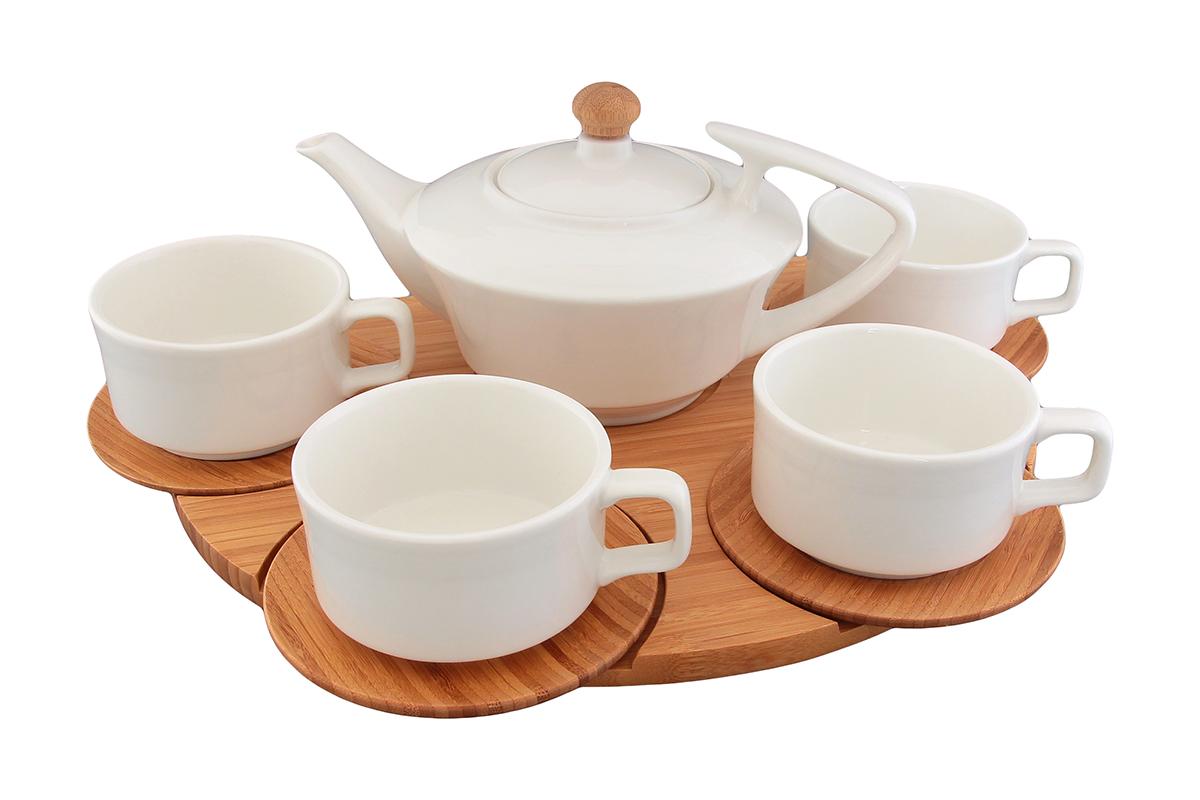 Чайный набор Elan Gallery Кристалл 9 предметов -чайник - 700 мл, 4 чашки - 180 мл, 4 деревянных блюдца на деревянной подставке540020эта посуда украсит любое чаепитие, запоминающийся яркий узор, безопасна и удобна в использовании