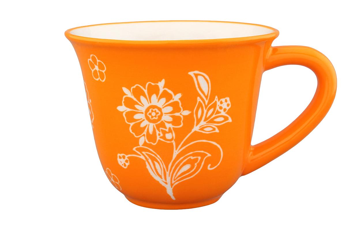 Кружка Elan Gallery Цветочное поле, цвет: белый, оранжевый, 350 мл830041Кружка Elan Gallery Цветочное поле, изготовленная из высококачественной керамики, сочетает в себе элегантный дизайн с максимальной функциональностью. Изделие оформлено изображением цветов и имеет изысканный внешний вид. Такая кружка станет оригинальным подарком для вас и ваших близких. Не рекомендуется применять абразивные моющие средства. Не использовать в микроволновой печи. Диаметр кружки (по верхнему краю): 11 см.