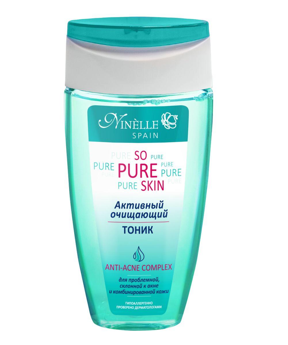 Ninelle So Pure Skin Активный очищающий тоник, 150 мл1064N10773Тоник эффективно завершает процесс очищения кожи, устраняя остатки загрязнений, тонизируя и освежая кожу, не нарушая ее PH и степень увлажнения. При регулярном использовании заметно стягивает поры, матирует кожу и предотвращает появление черных точек. Кожа хорошо очищена и готова к следующим этапам ухода. Комплексное использование средств серии SO PURE SKIN гарантирует антибактериальный и противовоспалительный эффект, предотвращает появление новых воспалений, в значительной степени нормализует работу сальных желез, глубоко очищает, матирует кожу и сужает поры. Содержит Hydromanil complex, Asebiol complex, Масло чайного дерева, Д-пантенол.
