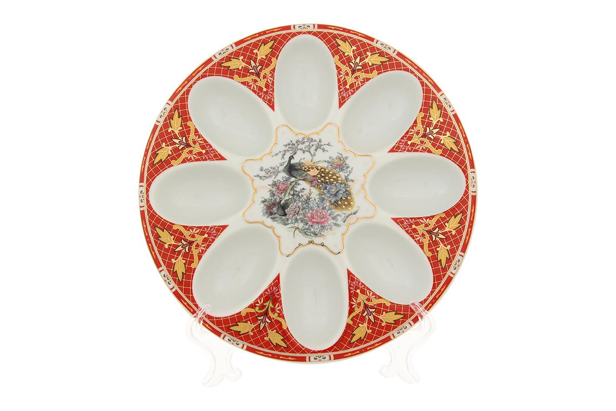 Тарелка для фаршированных яиц Elan Gallery Павлин, диаметр 20 см501328Тарелка для фаршированных яиц Elan Gallery Павлин, изготовленная из высококачественного фарфора, украсит ваш праздничный стол. На изделии имеются специальные углубления для 8 яиц. Тарелка оформлена ярким рисунком. Такая тарелка украсит сервировку вашего стола и подчеркнет прекрасный вкус хозяйки. Не рекомендуется применять абразивные моющие средства. Не использовать в микроволновой печи. Диаметр тарелки: 20 см. Высота тарелки: 2,5 см.