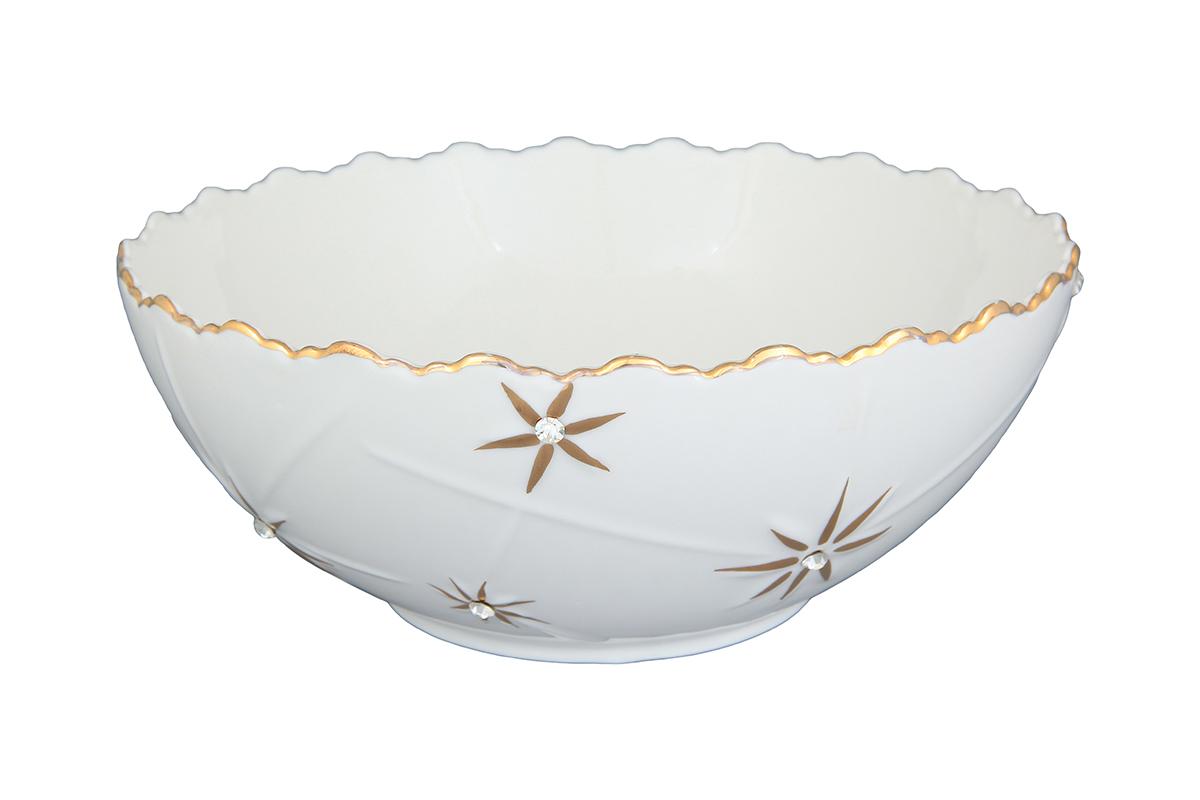 Салатник Elan Gallery Долина звезд, 1,1 л750142Изящный салатник Elan Gallery Долина звезд, изготовленный из высококачественного фарфора, прекрасно подойдет для подачи различных блюд: закусок, салатов или фруктов. Такой салатник украсит ваш праздничный или обеденный стол, а оригинальное исполнение понравится любой хозяйке. Не рекомендуется применять абразивные моющие средства. Не использовать в микроволновой печи. Диаметр салатника (по верхнему краю): 20,5 см.