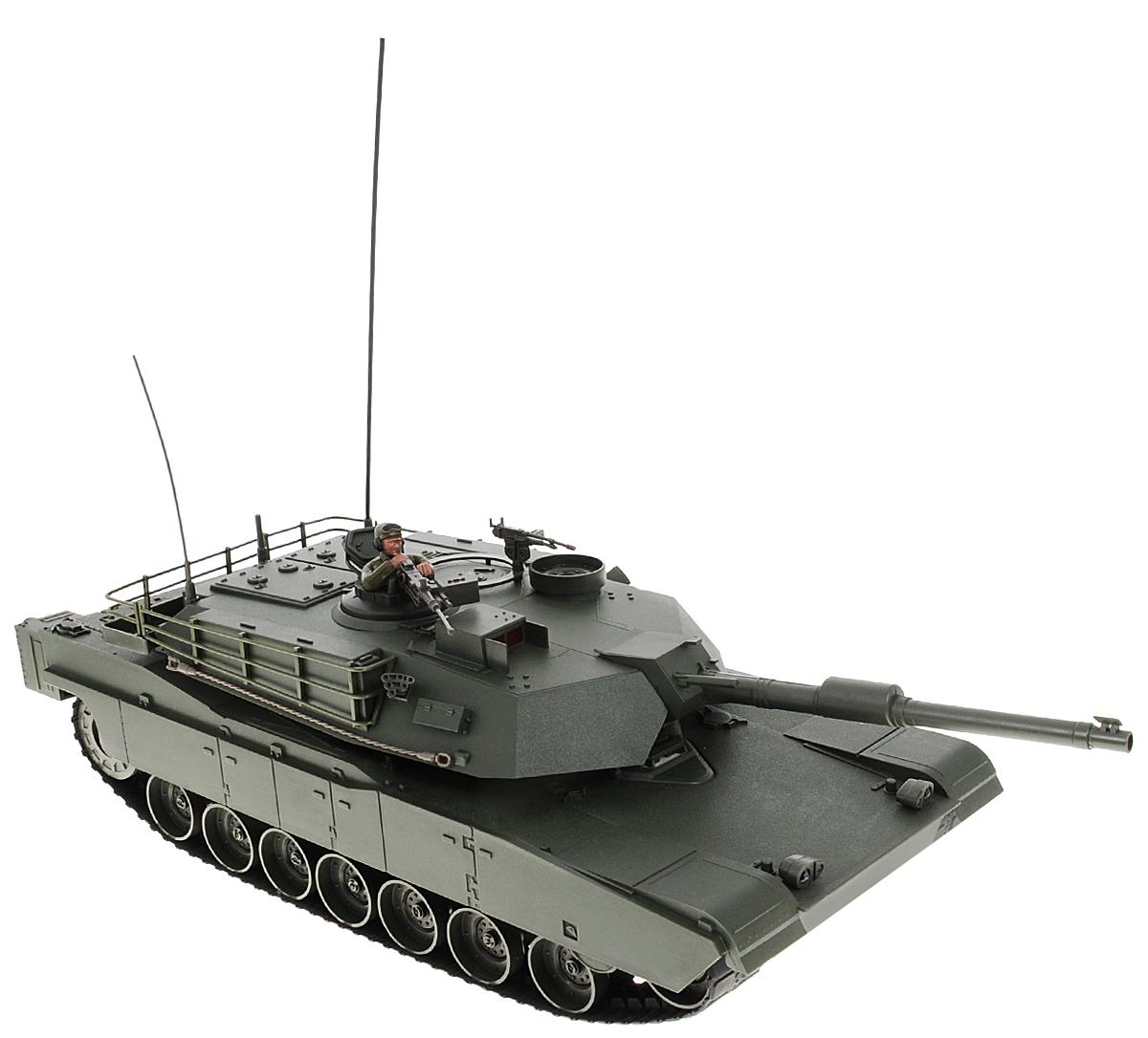 Властелин небес Танк на радиоуправлении М1А1 Abrams цвет зеленыйT0811Попробовать себя в качестве танкиста настоящего танка и запросто погонять во дворе в свое удовольствие - мечта любого мальчишки, осуществить которую поможет радиоуправляемый танк Властелин небес М1А1 Abrams. Представленная модель в 16 раз меньше настоящего аналога, причем все компоненты боевой машины, начиная от камуфляжной раскраски и заканчивая диапазоном движения, сымитированы весьма реалистично. Гусеничный танк может ехать во всех направлениях, башня вращается, а дуло поднимается вверх и вниз. Во время движения боевая машина преодолевает подъемы с наклоном до 35°. Игровой процесс сопровождается реалистичными звуковыми эффектами. Пульт управления работает на частоте 26.995 MHz. Для работы игрушки необходимы 6 батареек типа АА (не входят в комплект). Для работы пульта управления необходима 1 батарейка 9V типа Крона (не входит в комплект).