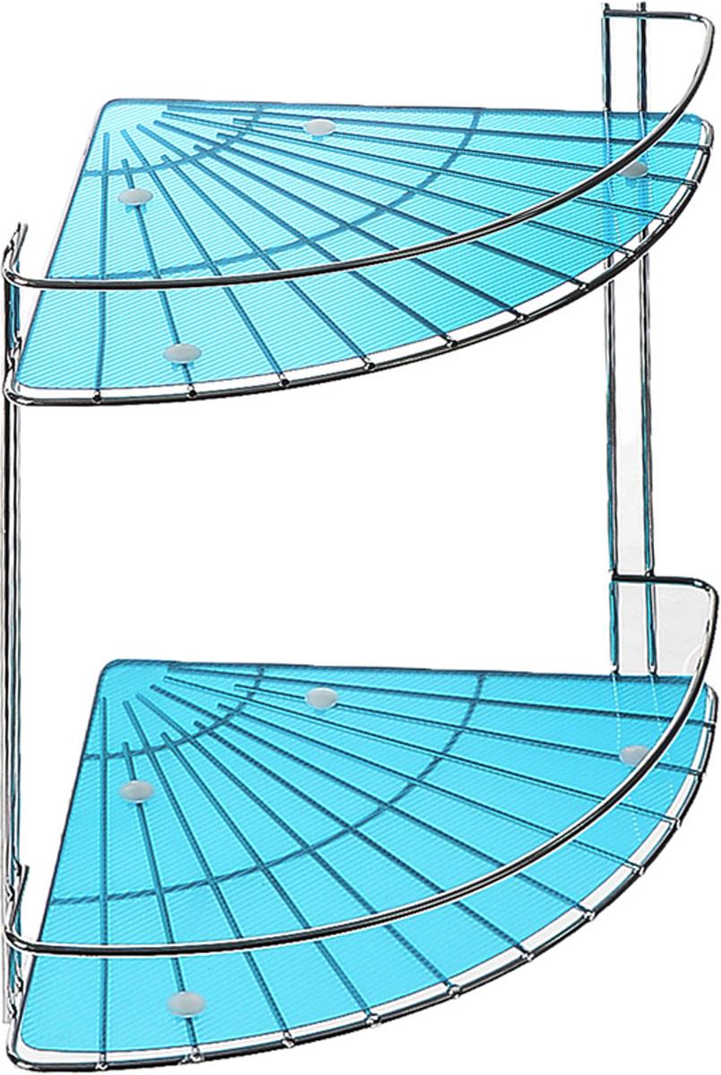 Полка подвесная Vanstore Blue Slim, 2-ярусная, угловая, высота 28 см036-55Подвесная полка Vanstore Blue Slim, выполненная из стали, сэкономит место в ванной комнате. Полка подвешивается с помощью саморезов (входят в комплект). Она пригодится для хранения различных принадлежностей, которые всегда будут под рукой. Благодаря компактным размерам полка впишется в интерьер вашего дома, а также позволит удобно и практично хранить предметы домашнего обихода. Размер яруса (ДхШхВ): 25 х 18 х 4,5 см. Общая высота полки: 28 см.
