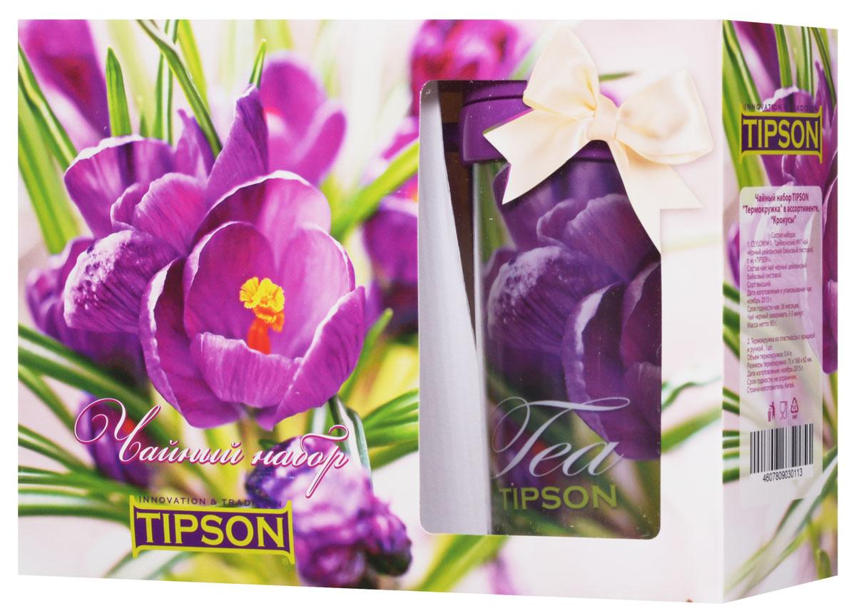 Tipson Подарочный набор Крокусы черный чай Ceylon №1 в комплекте с термокружкой, 85 г10056-00Чайный набор Tipson Крокусы с термокружкой - это удачное сочетание яркой кружки и традиционного чая Ceylon №1. Заваривая чай в термокружке Крокусы, вы получите необыкновенный заряд бодрости и отличного настроения! Объем термокружки: 0,4 л