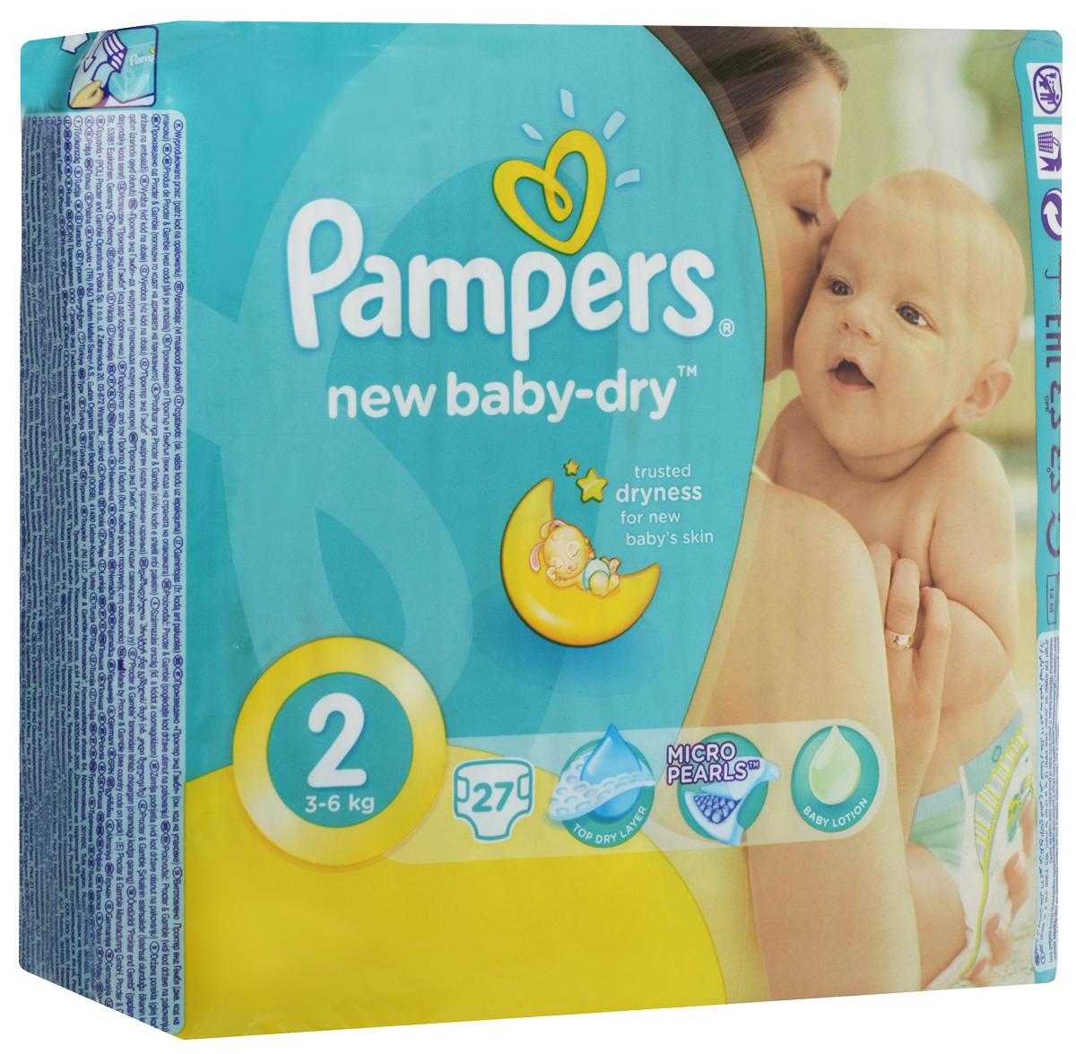 Pampers Подгузники New Baby 3-6 кг (размер 2) 27 штPA-81446629До 12 часов сухости, чтобы каждое утро было добрым! Для каждого доброго утра нужно до 12 часов сухости ночью. Поэтому для вас и вашего малыша каждое утро будет добрым, ведь у подгузников Pampers Active Baby-Dry есть обновленный рельефный впитывающий слой и основа, которая надежно запирает влагу внутри. А также мягкие тянущиеся боковинки, чтобы подгузник сидел плотно и при этом не доставлял дискомфорт малышу. Просыпайтесь с радостью каждое утро с подгузниками Pampers Active Baby-Dry . - Каждое утро будет добрым после ночи спокойного сна! - Рельефный впитывающий слой, который впитывает влагу и запирает ее внутри. - У подгузников Pampers Active Baby-Dry новый веселый дизайн! - Мягкие тянущиеся боковинки, чтобы малышу было комфортно, а подгузник сидел плотно. - Доступны в размерах 2, 3, 3+, 4, 4+, 5, 5+, и 6