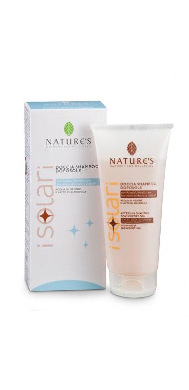 Natures Шампунь-гель для душа, после загара, 2 в 1, 200 мл60041649Шампунь-гель для душа Natures после загара рекомендуется для использования после принятия солнечных ванн. Деликатно очищает кожу и волосы, удаляя остатки соли, песка и солнцезащитных средств. Предотвращает чрезмерное обезвоживание кожи, способствуя стойкому загару и придает волосам мягкость и блестящий вид. Идеальное дополнение к солнцезащитным средствам, предотвращает фотостарение, то есть преждевременное старение кожи, вызванное УФ-лучами. Характеристики: Объем: 200 мл. Производитель: Италия. Артикул: 60041649. Товар сертифицирован.