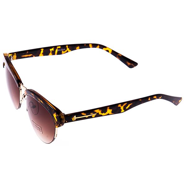 Солнцезащитные очки женские Selena, цвет: коричневый, золотой. 8002951180029511Солнцезащитные женские очки Selena выполнены из высококачественного пластика с элементами из металла, оправа оформлена принтом леопард, дужки дополнены декоративными элементами. Линзы данных очков с высокоэффективным UV-фильтром обеспечивают полную защиту от ультрафиолетовых лучей. Используемый пластик не искажает изображение, не подвержен нагреванию и вредному воздействию солнечных лучей. Такие очки защитят глаза от ультрафиолетовых лучей, подчеркнут вашу индивидуальность и сделают ваш образ завершенным.
