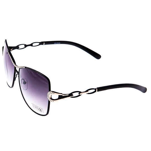 Солнцезащитные очки женские Selena, цвет: черный, золотой. 8003029180030291Солнцезащитные женские очки Selena выполнены из металла с элементами из высококачественного пластика, оправа и дужки оформлены декоративными элементами. Линзы данных очков с высокоэффективным фильтром UV-400 Protection обеспечивают полную защиту от ультрафиолетовых лучей. Используемый пластик не искажает изображение, не подвержен нагреванию и вредному воздействию солнечных лучей. Такие очки защитят глаза от ультрафиолетовых лучей, подчеркнут вашу индивидуальность и сделают ваш образ завершенным.