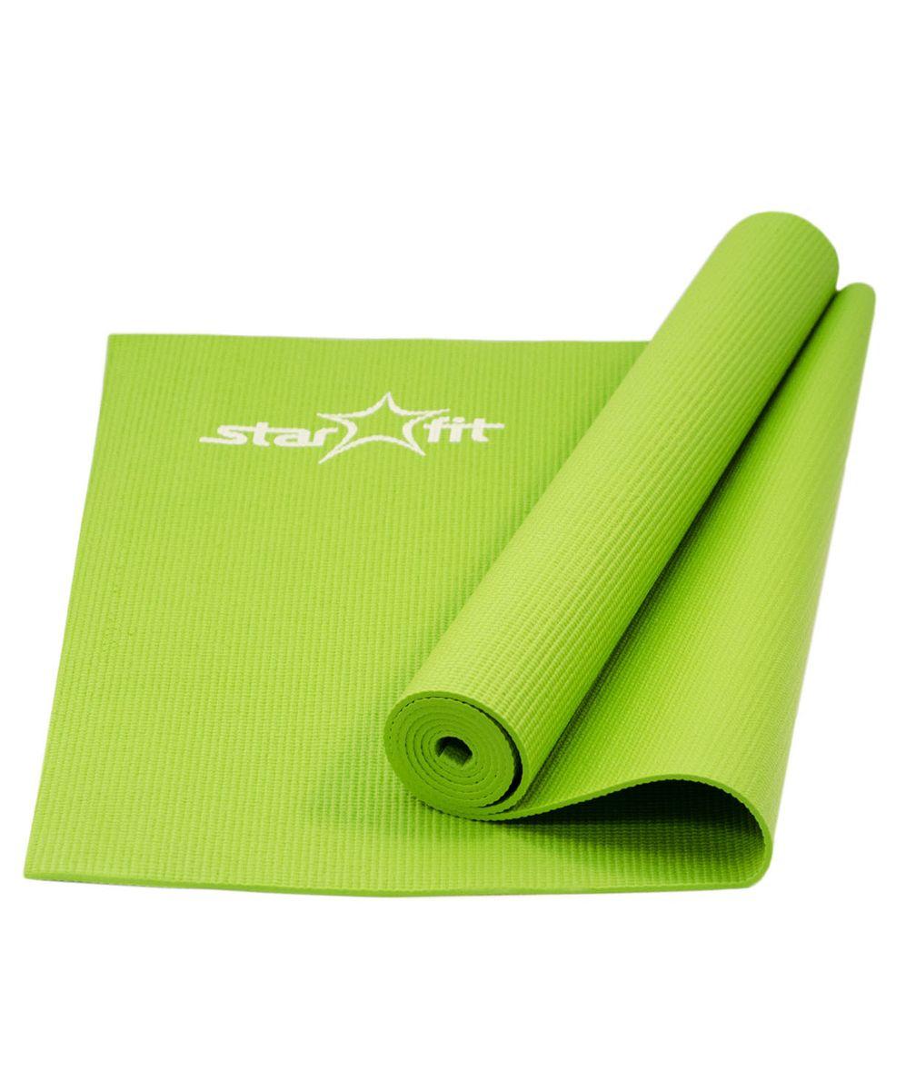 Коврик для йоги Star Fit, цвет: зеленый. FM-101УТ-00007224Коврик для йоги FM-101, зеленый - это современный, удобный и компактный аксессуар для занятий фитнесом и йогой в группах или домашних условиях. Нескользящая поверхность обеспечивает комфорт при выполнении упражнений. В процессе занятий коврик не растягивается и не теряет формы. Мягкая, бархатистая на ощупь поверхность коврика создает ощущение дополнительного комфорта и предотвращает скольжение рук и ног во время занятий. Основные характеристики: Тип: коврик для йоги и фитнеса Материал: ПВХ (полимерные материалы) Длина, см: 173 Ширина, см: 61 Толщина, см: 0,4 Цвет: зеленый Вес, кг: нет Дополнительные характеристики: Особенности: Комфортная не скользящая поверхность Легкий, удобно брать на занятия Прочный и упругий материал, не растягивается Легко моется Компактный, хранится в свернутом виде Производитель: КНР