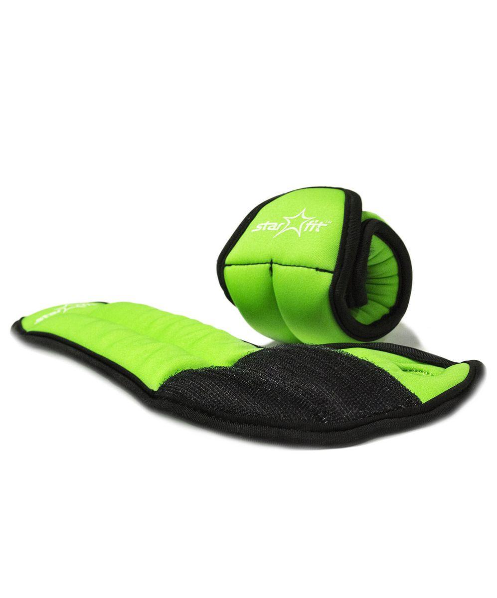Утяжелители для рук Starfit WT-201, цвет: зеленый, черный, 0,5 кг, 2 штУТ-00007279WT-201 - это утяжелители на запястье с фиксацией на большой палец. Утяжелители помогут тренирующемуся быстрее сбросить лишний вес, добавить отягощения в тренировку мышц, будь это групповая тренировка, функциональный тренинг, бодибилдинг или спортивные единоборства. Утяжелители имеют компактный размер и не займут много места при хранении и переноске. Оригинальный современный дизайн, приятное цветовое оформление и качество самих утяжелителей будут несомненно радовать вас во время тренировок! Вес одного утяжелителя: 0,5 кг. Количество утяжелителей: 2 шт.