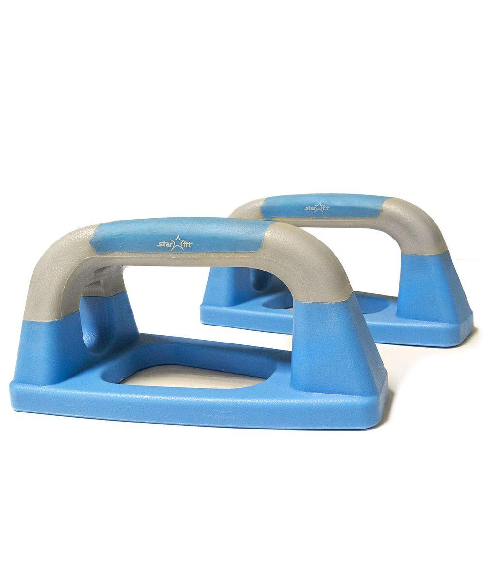 Упоры для отжиманий Starfit BA-303, утюжки, цвет: синий, серый, 2 штУТ-00007325Упоры для отжиманий BA-303 выполнены из высококачественного пластика. Традиционную технику выполнения отжиманий можно существенно дополнить, используя упоры для отжиманий - эффективный инструмент, который позволяет развивать и укреплять мышцы рук, груди и плечевого пояса, развивает выносливость. Порадуйте себя прочным и полезным тренажером.