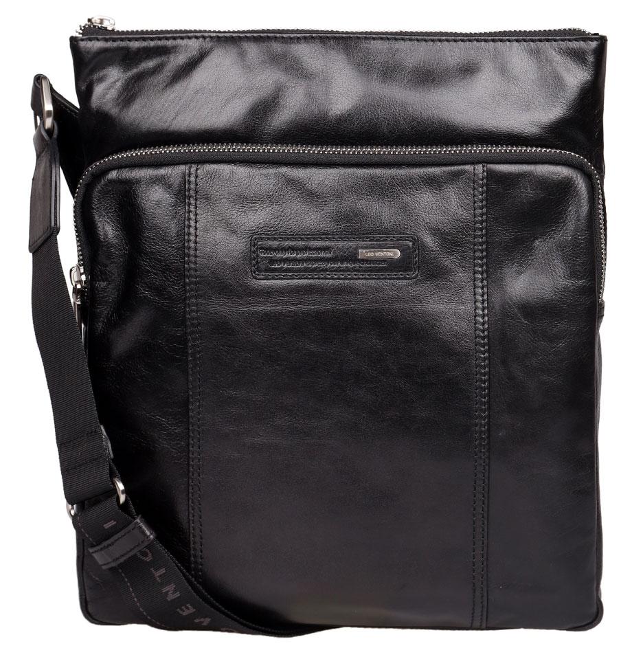 Сумка мужская Leo Ventoni, цвет: черный. 0300224903002249-neroСтильная мужская сумка Leo Ventoni изготовлена из натуральной гладкой кожи и застегивается на металлическую застежку-молнию. Основное отделение сумки содержит врезной карман на пластиковой молнии, два держателя для шариковых ручек и два прорезных кармана для мелочей. Лицевая сторона сумки дополнена врезным объемным карманом на металлической молнии, декорированный снаружи нашивкой с тиснением и металлической пластиной логотипа бренда. На тыльной стороне расположен врезной карман на застежке-молнии. Изделие оснащено несъемным текстильным плечевым ремнем, который регулируется по длине. Ремень выполнен с тиснением бренда. Прилагается текстильный фирменный чехол для хранения. Сумка Leo Ventoni поможет вам подчеркнуть чувство стиля и завершить выбранный образ.