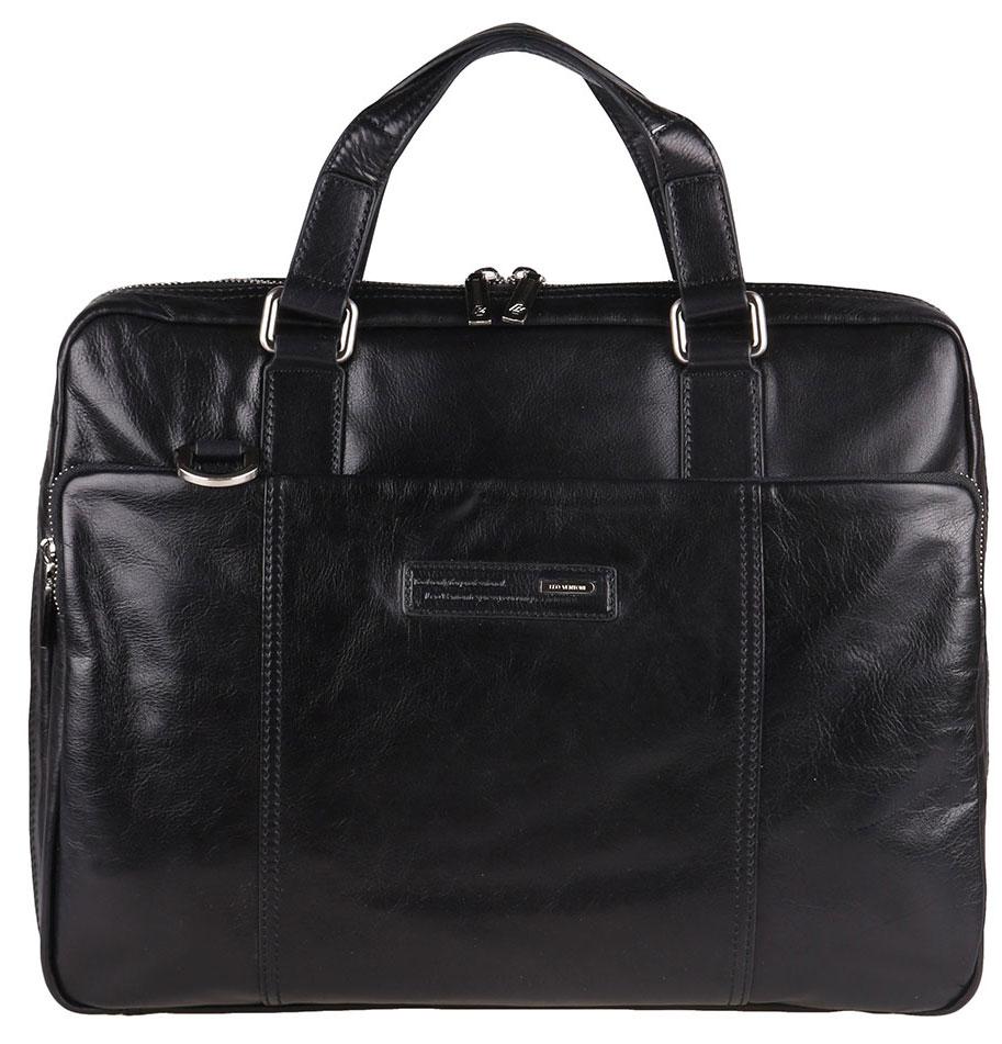Сумка мужская Leo Ventoni, цвет: черный. 0300225003002250-neroСумка мужская Leo Ventoni выполнена из натуральной гладкой кожи. Внутренняя часть изделия выполнена из текстиля и натуральной кожи. Основное отделение сумки застёгивается на молнию и имеет разделение карманом с уплотненными стенками на липучке для планшета или ноутбука. Отделение содержит врезной карман на молнии, два прорезных небольших кармана для мелочей, два держателя для ручек и два сетчатых кармашка. На лицевой стороне расположен вместительный карман на металлической застежке-молнии. На задней стенке врезной карман на молнии. Сумка декорирована тиснением и логотипом бренда. Изделие оснащено удобными ручками для переноски. Прилагается наплечный ремень, регулируемой длины и фирменный текстильный чехол для хранения. Функциональная мужская сумка Leo Ventoni станет стильным аксессуаром для делового мужчины.
