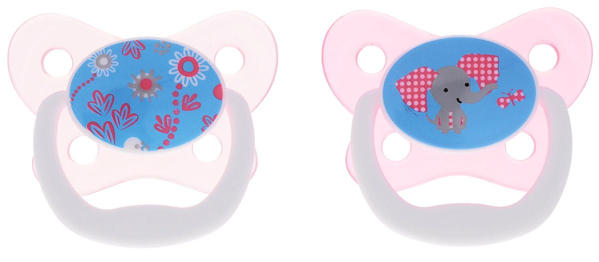 Dr.Brown's Пустышка PreVent Бабочка от 6 до 12 месяцев цвет розовый 2 шт