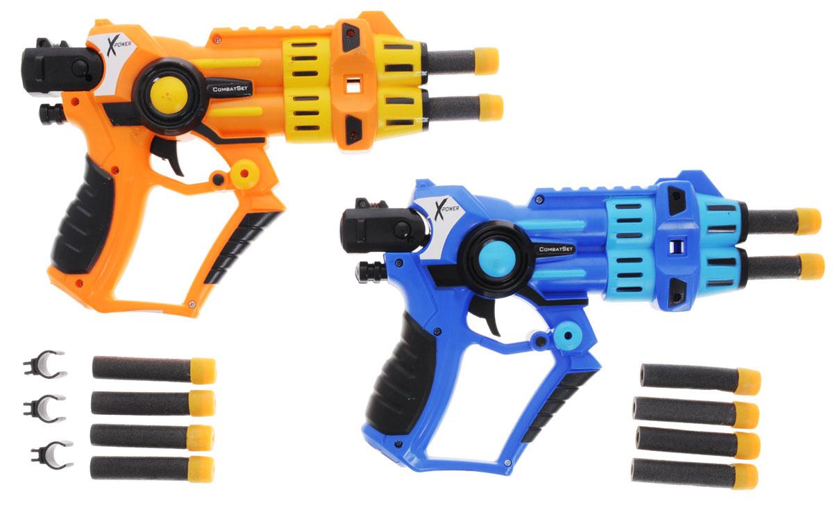 Simba Набор бластеров X-Power цвет оранжевый синий7210058_оранжевый,синийНабор бластеров Simba X-Power наверняка понравится маленьким любителям космических войн. Бластеры, изготовленные из безопасного прочного пластика, рассчитаны на два заряда, однако на стволе предусмотрены крепления для двух дополнительных зарядов, что увеличивает боевую мощь бластеров в два раза. Это мощное оружие может поражать цель на расстоянии до 8 метров, а мягкие патроны не причинят вреда окружающему интерьеру или людям. С таким набором ваш ребенок почувствует себя настоящим звездным воином. Порадуйте его таким замечательным подарком!
